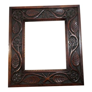 Antique Hand Carved & Inlaid Mahogany Picture Frame For Sale