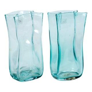 Pair of Vintage Blenko Glass Vases, Circa 1960's For Sale