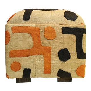 African LG Geometric Kuba Textile Ottoman
