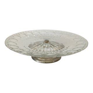 Vintage Italian 1960's Leonard Crystal Cut Glass Cake Stand With Silver Plated Pedestal For Sale