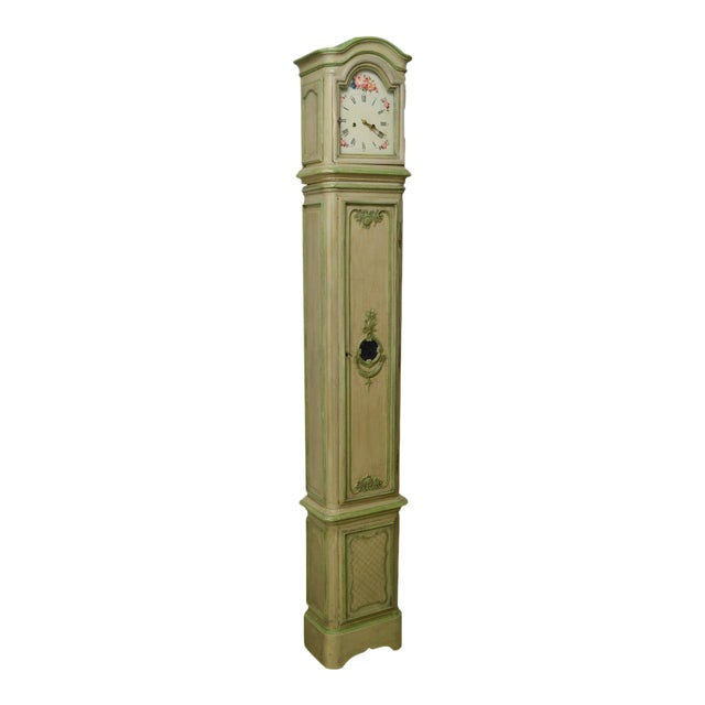 18th Century French Louis XV Period Hand Painted Long Case Clock For Sale