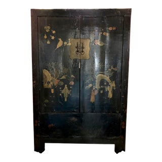 Antique Chinese Hand Painted Black Lacquer Wedding Cabinet For Sale