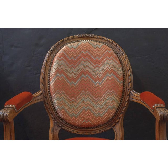 Pair of French Louis XVI Style Round Back Open Arm Chairs For Sale - Image 4 of 6