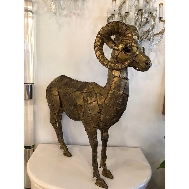 Gold Luciano Bustamante Brass Patchwork Ram For Sale - Image 8 of 11