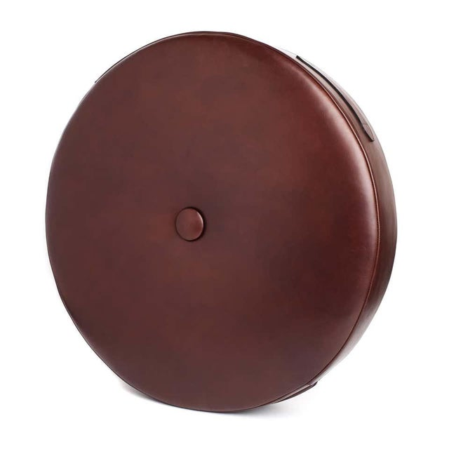 Not Yet Made - Made To Order Leather Drum Stacking Floor Cushion in Caramel by Moses Nadel For Sale - Image 5 of 7