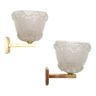 Barovier Blown Murano Glass & Brass Wall Sconces Italy Mid-Century Modern - Pair For Sale