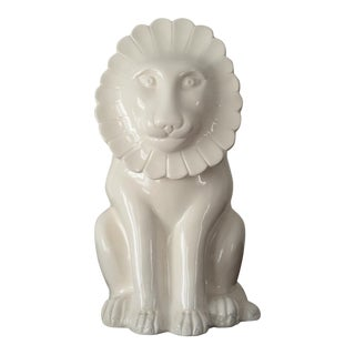 Vintage Italian Lidded Lion Ceramic Container For Sale