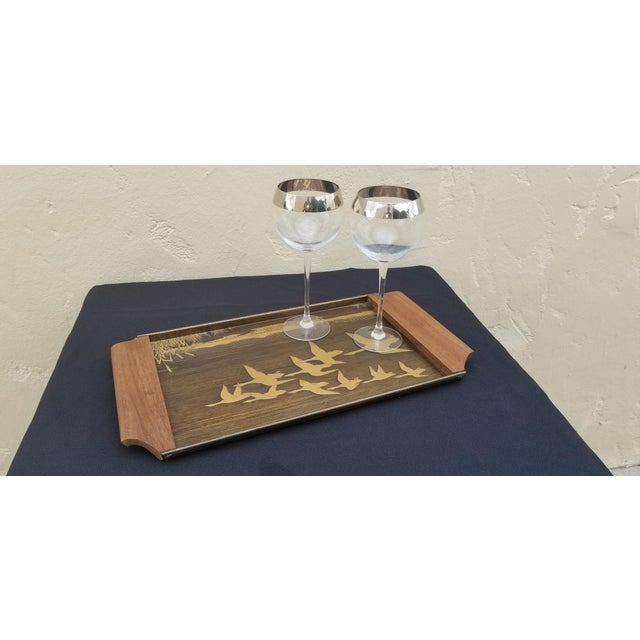 Danish Modern Vintage Mid-Century Brass Etched Tray With Flying Ducks and Walnut Wood Handles For Sale - Image 3 of 9