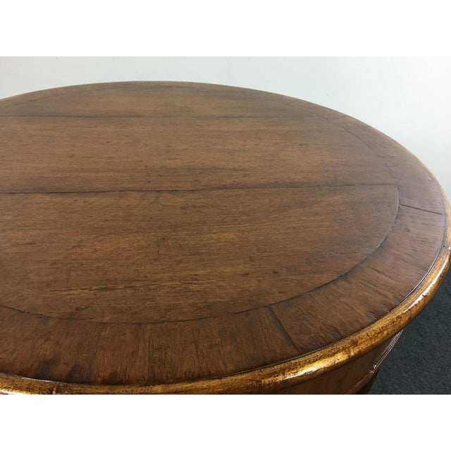 Vintage Carved & Veneered Walnut Single Drawer Round Top End Table For Sale - Image 5 of 5