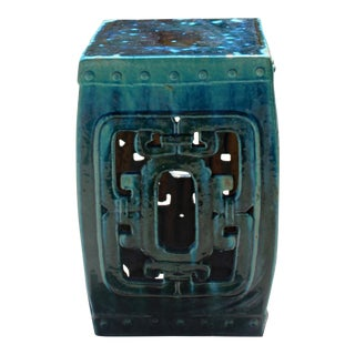 Chinese Green Blue Square Ru Yi Pattern Clay Ceramic Garden Stool For Sale