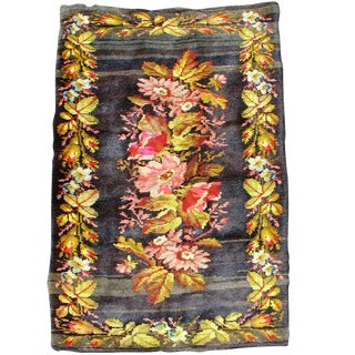 Rustic Floral Ukrainian Rug For Sale