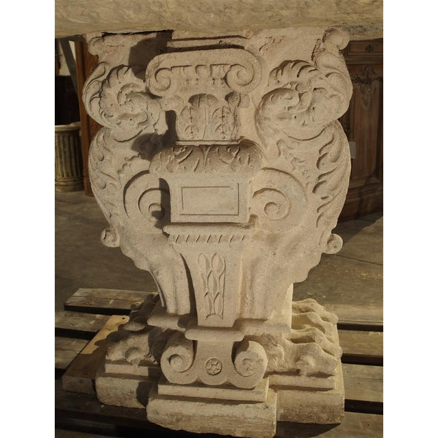 Gray Rare Period Renaissance Carved Stone Table from the South of France, 1570 For Sale - Image 8 of 10
