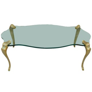 Aged Bronze and Scalloped Thick Glass Cocktail Table For Sale