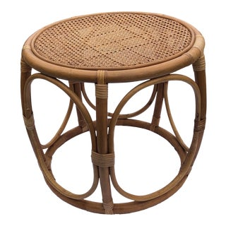 Vintage Rattan Footstool With Cain Top For Sale