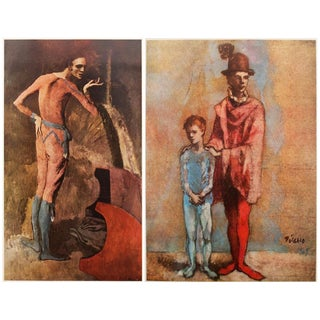 1950s Picasso Vintage Original Harlequin Lithographs N2 - a Pair For Sale