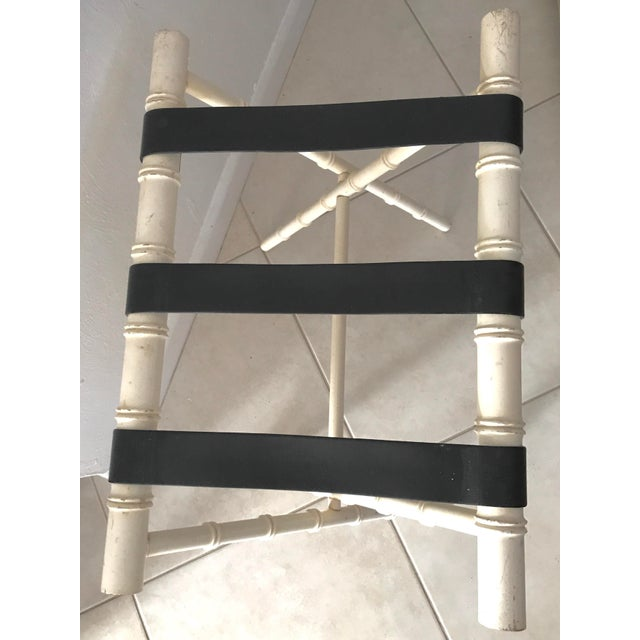 Vintage Dorothy Draper Style Faux Bamboo Ivory White Suitcase Luggage Rack For Sale - Image 9 of 11