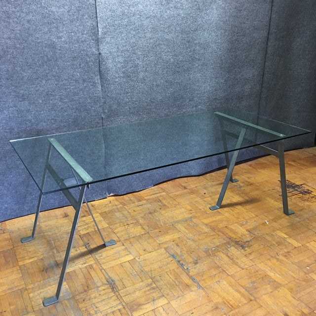 Glass & Metal Architect's Desk or Dining Table - Image 2 of 8