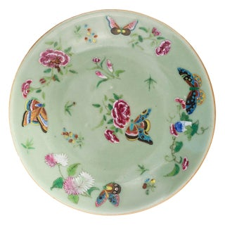 Mid 19th Century Vintage Chinese Celadon Porcelain Butterfly Floral Plate For Sale