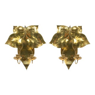 English Arts and Crafts Brass Wall Sconces - a Pair For Sale