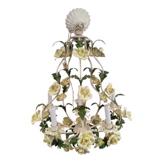 1950s Italian Toleware Six-Light Yellow Porcelain Rose Chandelier For Sale