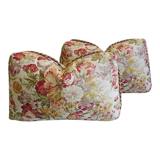 "24"" x 15"" Custom Tailored English Floral Linen Feather/Down Pillows - Pair - Image 1 of 11"