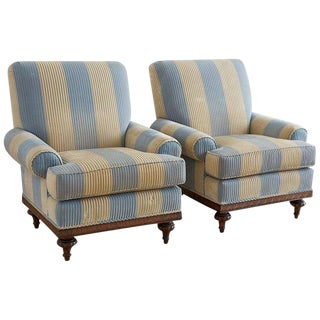 Pair of English Regency Style Club Chairs by Kravet
