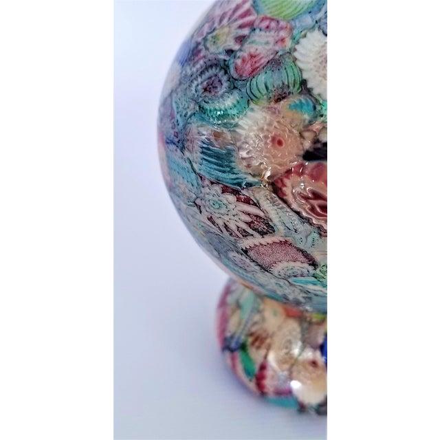 Blue Murano Glass Millefiori Paperweight by Gambaro & Poggi - Vintage Venetian Italian Italy Mid Century Modern MCM Palm Beach Boho Chic Vase Bowl For Sale - Image 8 of 13