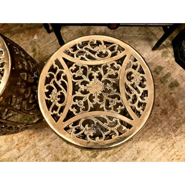 1960s Pair of Cast Brass Chinoiserie Garden Stools, Scrolling Vines, C. 1960 For Sale - Image 5 of 6
