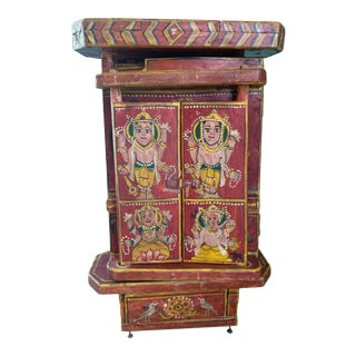 Antique Indian Hand-Painted Red Lacquer Wedding Box For Sale