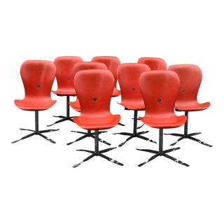 1970s Orange Gideon Kramer Ion Chair - Set of 8 For Sale