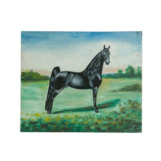 Vintage Folk Art Black Horse Painting For Sale