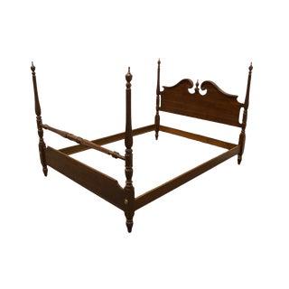 Late 20th Century Ethan Allen Georgian Court Collection Queen Size Four Poster Bed For Sale