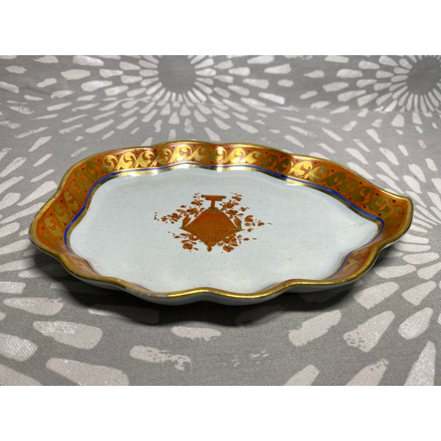 19th Century Red Orange & Gold Handmade Hand-Painted Ceramic Pottery Catchall Dish For Sale - Image 4 of 10