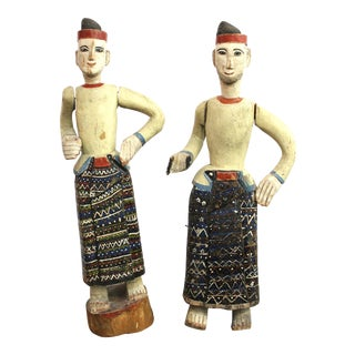 South-East Asian Carved and Painted Wood Figures of Men in Sarongs - a Pair For Sale