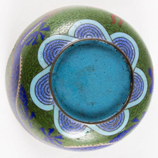 19th Century Antique Chinese Cloisonne Dragon Bowl For Sale - Image 4 of 11