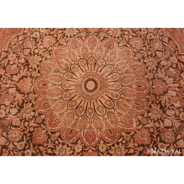 Islamic Antique Persian Tabriz Dusty Rose Rug - 13′7″ × 17′ For Sale - Image 3 of 8