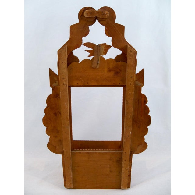 Tramp Art Wood Bird, Diamonds, Hearts Antique Frame Wall Storage For Sale - Image 4 of 5