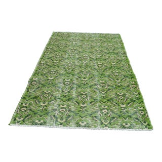 Modern Turkish Oushak Handwoven Bright Green Wool Floral Rug For Sale