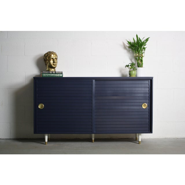 1960's Navy Cabinet W/ White & Gold Tapered Legs - Image 4 of 11