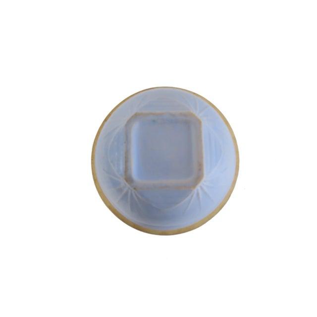 Primitive Vintage Light Pale Blue Stoneware Earthenware Pottery Farmhouse Round Mixing Bowl For Sale - Image 3 of 5