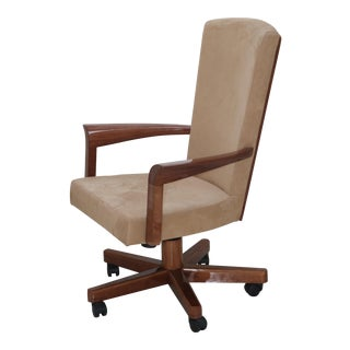 Maurice Villency African Mahogany Rolling Executive Desk Chair For Sale