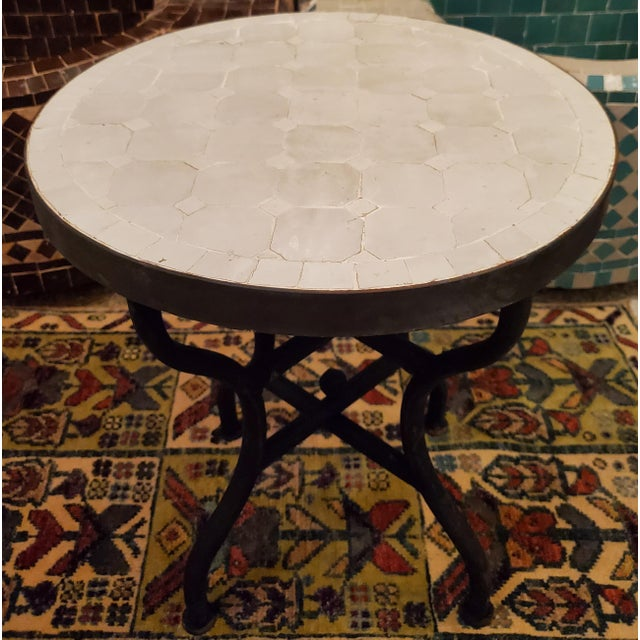 Metal Moroccan White Mosaic Side Table For Sale - Image 7 of 7