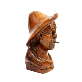 1960's Hand Carved Bust of American Man with Cigar For Sale