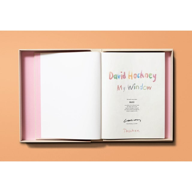 """Contemporary TASCHEN Books Autographed David Hockney """"My Window"""" Painting Collection, Collectors Edition For Sale - Image 3 of 8"""