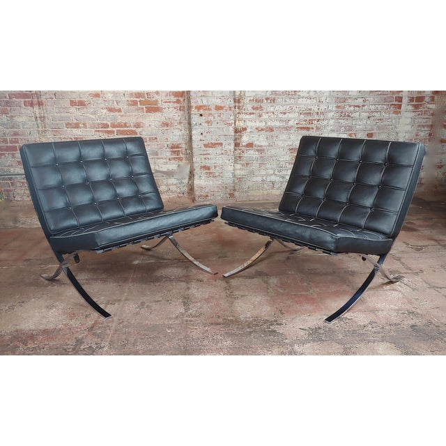 Barcelona Chairs -Beautiful Vintage Black Leather Seats -A Pair For Sale - Image 11 of 11