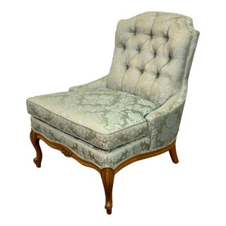Vintage Globe Furniture Blue Silk Damask Armless Accent Chair For Sale