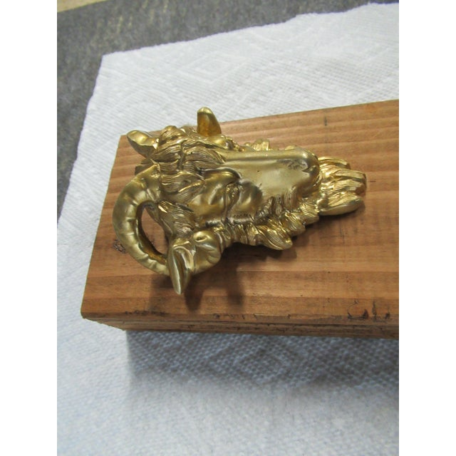 Vintage Brass Ormolu Rams Head Goat Hardware Pull Knob Handle dresser chest great shape.......Please see photos as they...