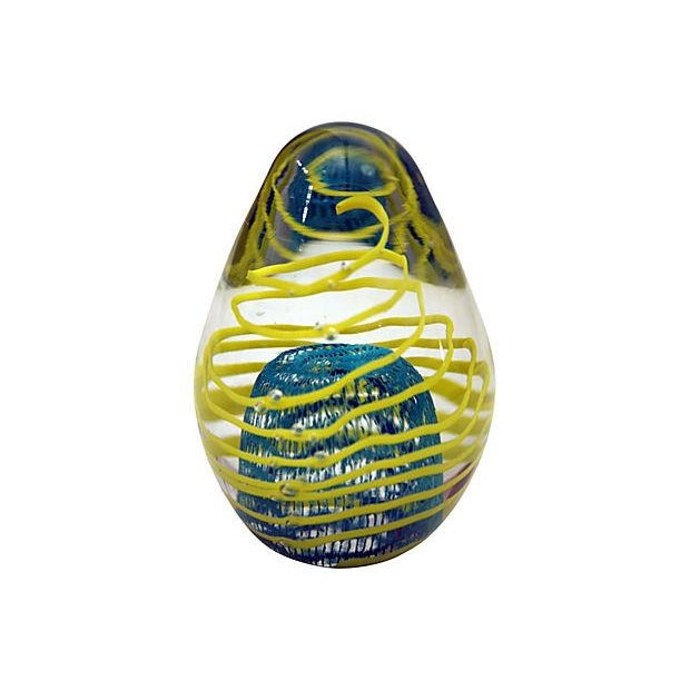 Peacock Blue Ribbon Design Glass Egg Paperweight - Image 2 of 4
