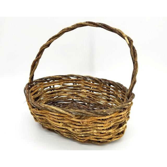 """All willow branch basket. Bent wood with bark traditional handmade basket. Great for spring bouquet. measures 14"""" x 12"""" x..."""