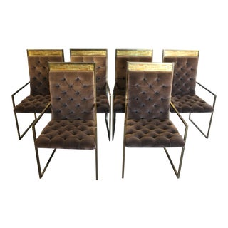 Mastercraft Brass and Velvet Tufted Dining Chairs - Set of 6 For Sale